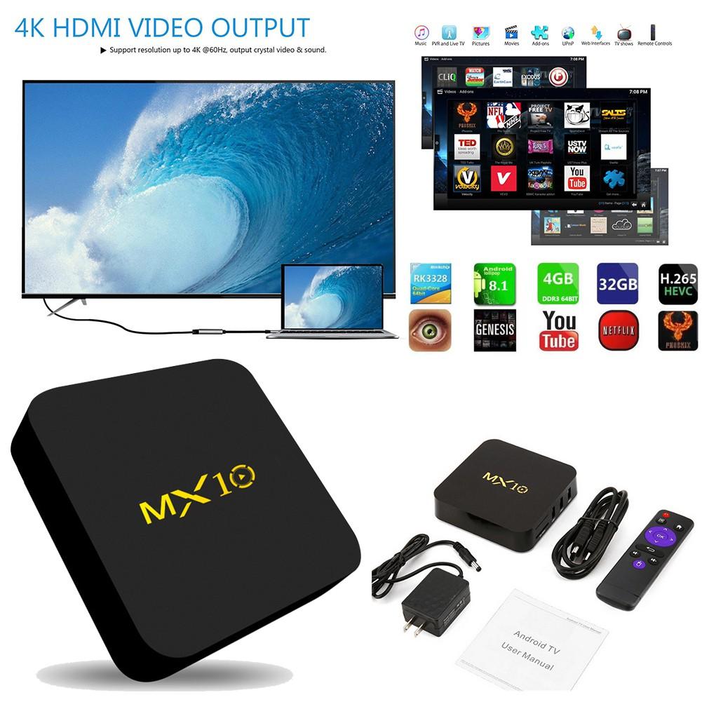 ★tamymy★MX10 Smart TV Box Android 8 1 RK3328 Quad Core HD Wifi Box media  player