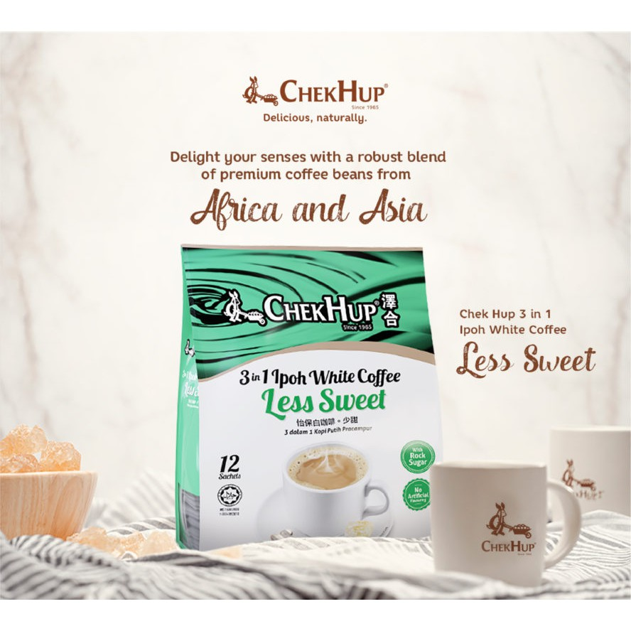 Chek Hup 3 in 1 Ipoh White Coffee Less Sweet (35g x 12s) [Bundle of 2]