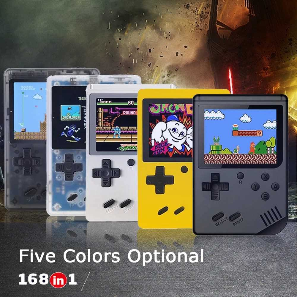 Handheld Game Console 3 Inch w/ 168 Games Retro Game Player Birthday Christmas Presents for Children (White)