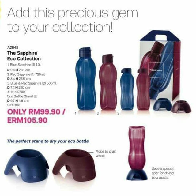 ORIGINAL [LIMITED EDITION] Tupperware Sapphire Eco Bottle Collection