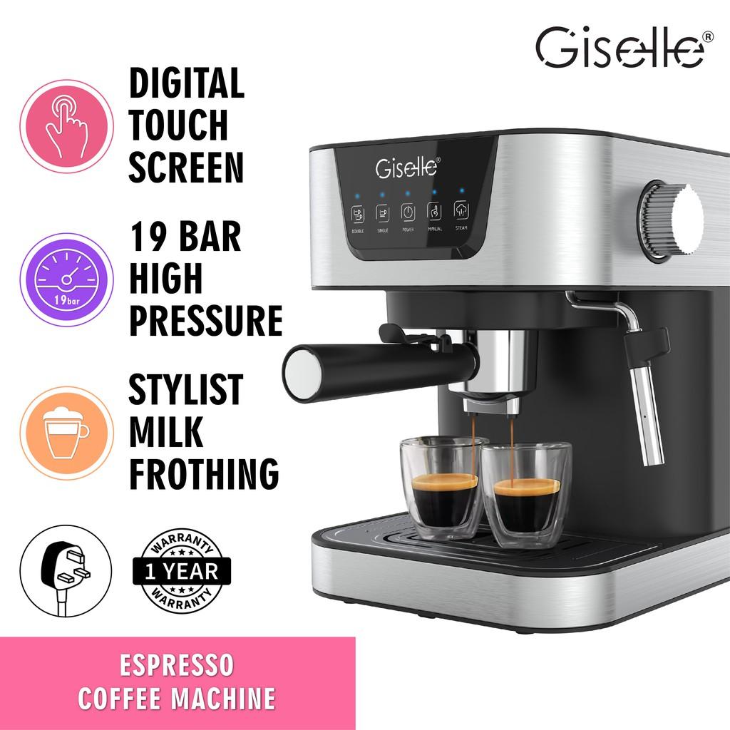 19Bar Giselle Espresso Coffee Milk Bubble Maker Machine with Milk Frothing (1050W) KEA0332