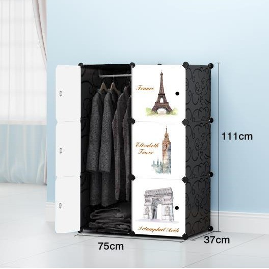 MALAYSIA: Euro 6 cube Black DIY Multipurpose Wardrobe Cabinet Clothes Storage Organizer Almari Rak