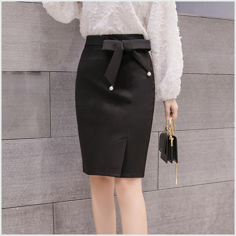 2019 clearance sale big collection price remains stable Skirts Womens Office Lady Casual Black Big Bow Elegant Split Slim Midi Skirt