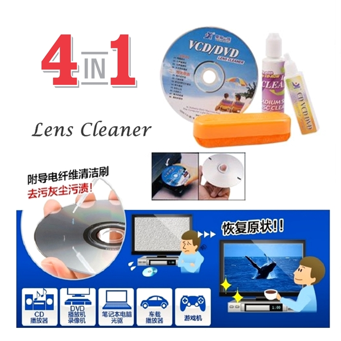 ????Hot Item???? Pencuci Disc Player 4-in-1 Triple CD DVD Optical Drive Cleaning CD Clean Dish