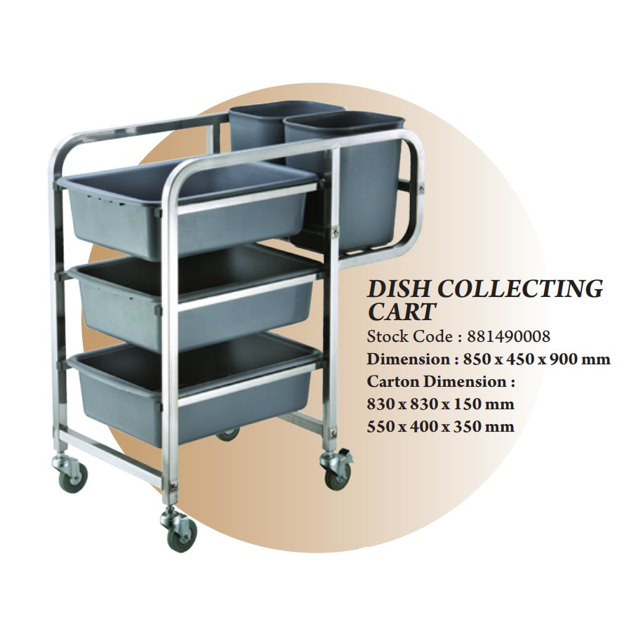 THE BAKER STAINLESS STEEL DISH COLLECTING CART BOX TROLLEY