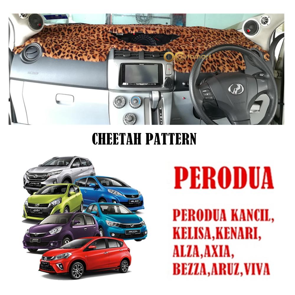 Customized Dashboard Cover Fur / Bulu (Cheetah Pattern) For Perodua Myvi,Viva,Axia,Aruz,Alza,Kancil,Kenari,Kelisa,Bezza
