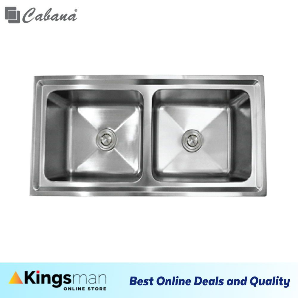 [Kingsman] Top mount Stainless Steel 304 Cabana Home Living Kitchen Sink Double Bowl Ready Stock - CKS331