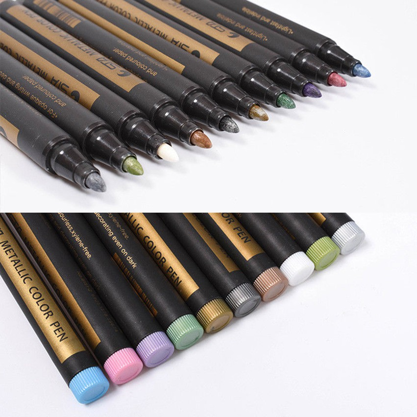 10 Colors Metallic Paint Marker Pens Metallic Sheen Glitter Calligraphy Arts Set