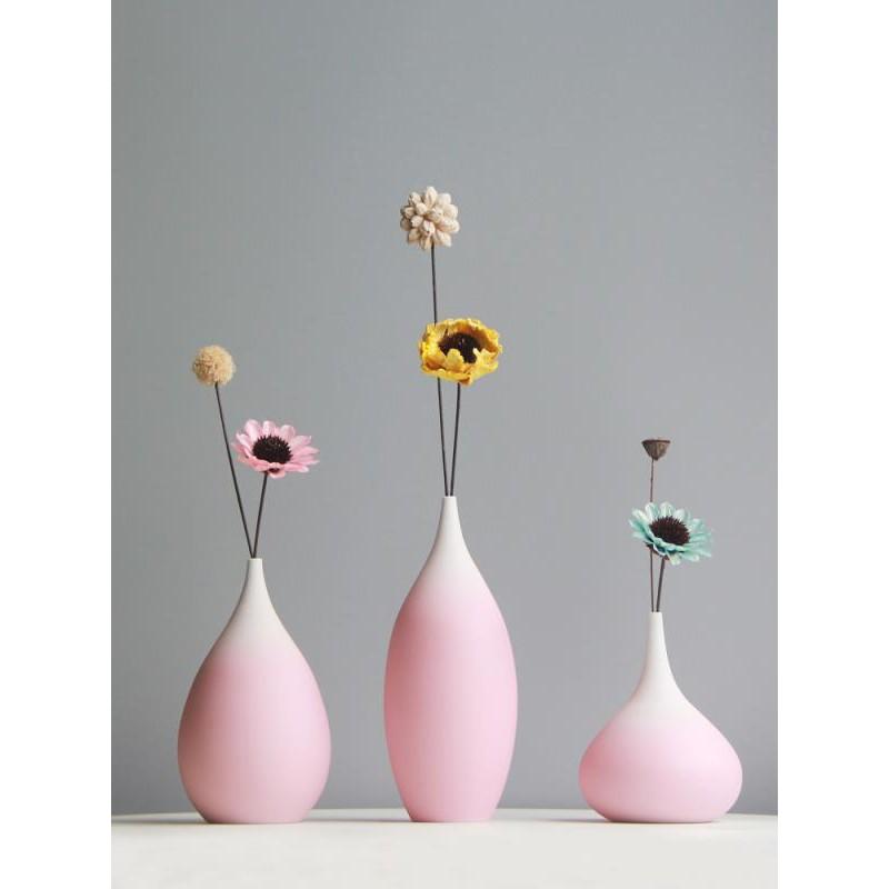 Jjy Ceramic Vase Decoration Living Room Flower Arrangement Pink Small Fresh Dry Flower Vase Handmade Flower Simple Porch Shopee Malaysia