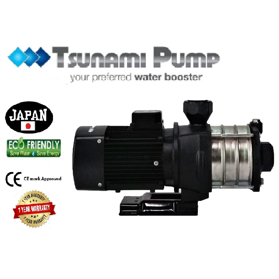 Tsunami CMH8-30T-THREE PHASE Horizontal Multi-Stage WaterPressure Pump BoosterSuitable Hotel & Motel【1 Year Warranty】