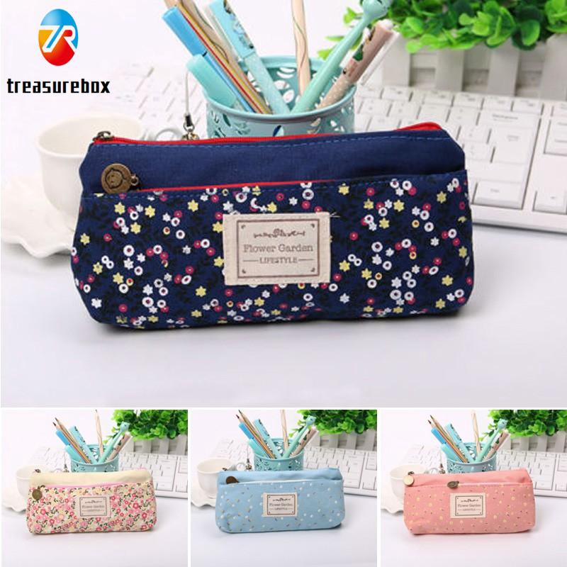 0be2b166a01c Canvas Pencil Case Large Capacity Pen Box Stationery Pouch Makeup ...