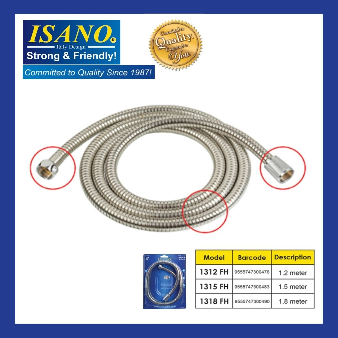 ISANO Stainless Steel Flexible HOSE Bath/Shower Hose 1.2 ,1.5 OR 1.8METER 1312FH / 1315FH / 1318FH