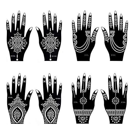 Henna Tattoo Stencil 8 Sheets Temporary Tattoo Temples Indian Body Art Designs Shopee Malaysia