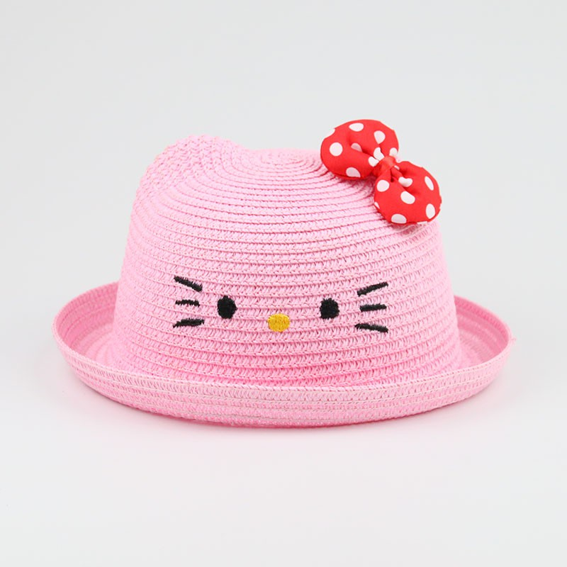 b9b35f2d3 Hello Kitty Straw Hat Baby Cute Hats Outdoor Bow Visor Sun Hat