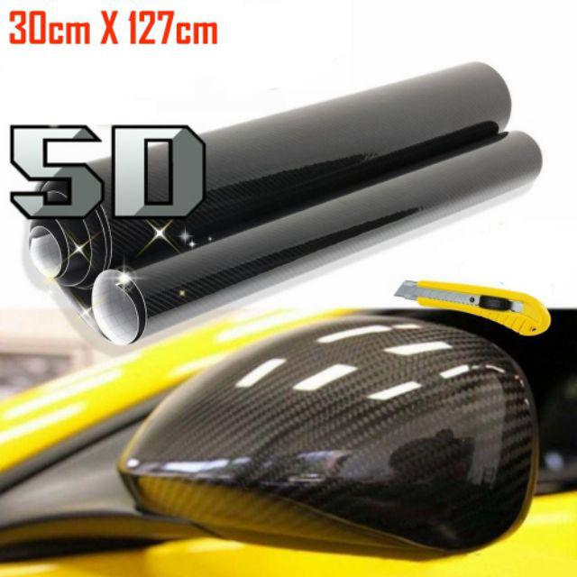 6D Premium Gloss Carbon Fiber Vinyl Wrap Bubble Free Air Release Decal DIY Decor