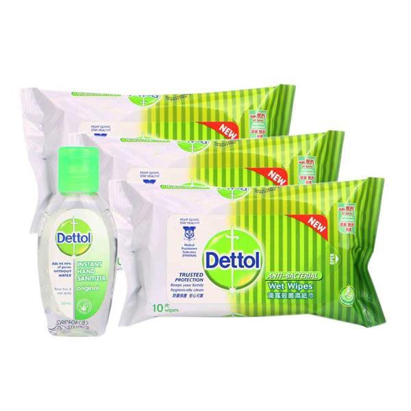 Dettol Anti-Bacterial Travel Pack - Wipes 30's + Hand Sanitizer