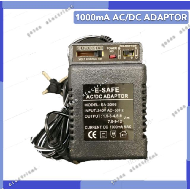 Universal 1000mA AC/DC Adaptor