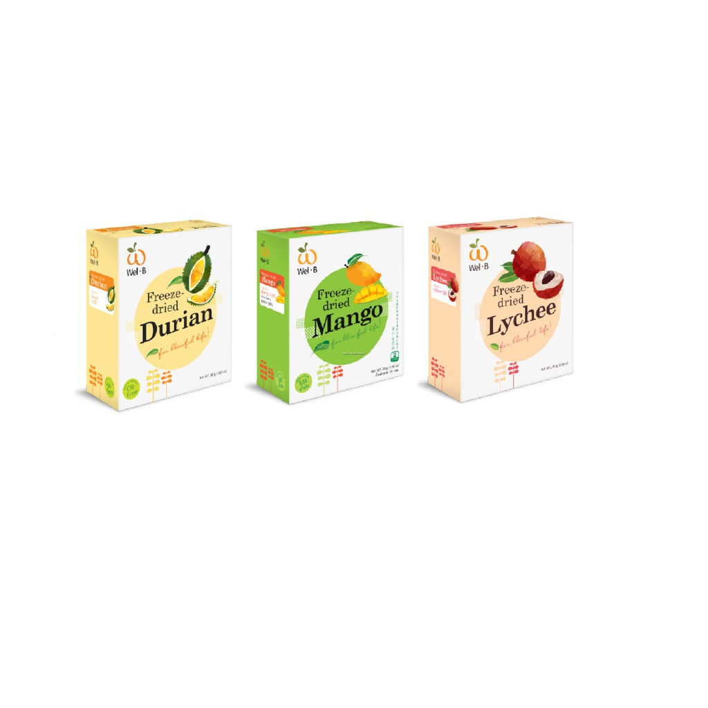 READY STOCK WEL-B FREEZE DRIED FRUIT DURIAN/MANGO/LYCHEE 30G/PACKET