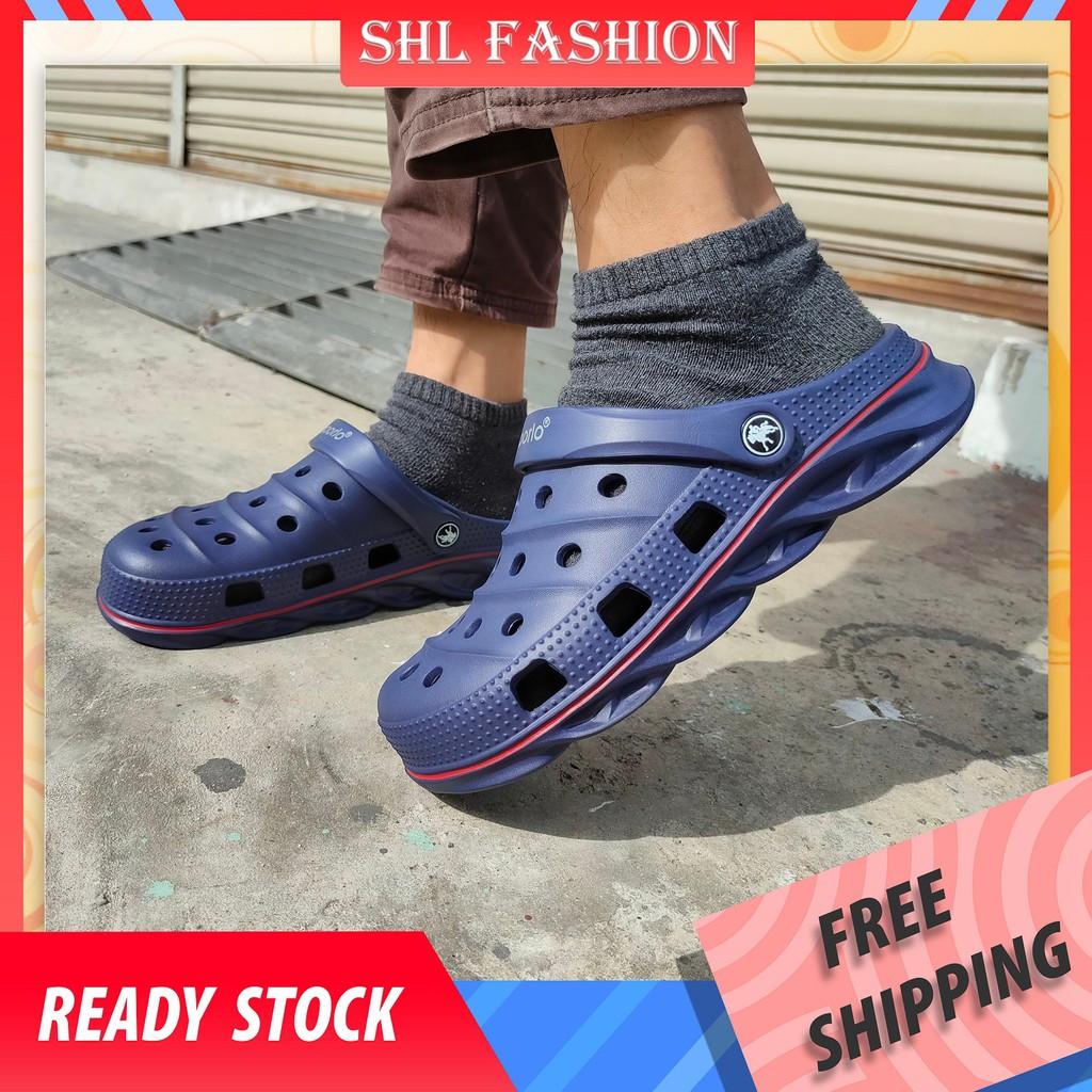 SHL Clogs Men Hollow Jelly Sandal 4 Color Beach Rubber Shoes size 40-45 大头鞋 9085