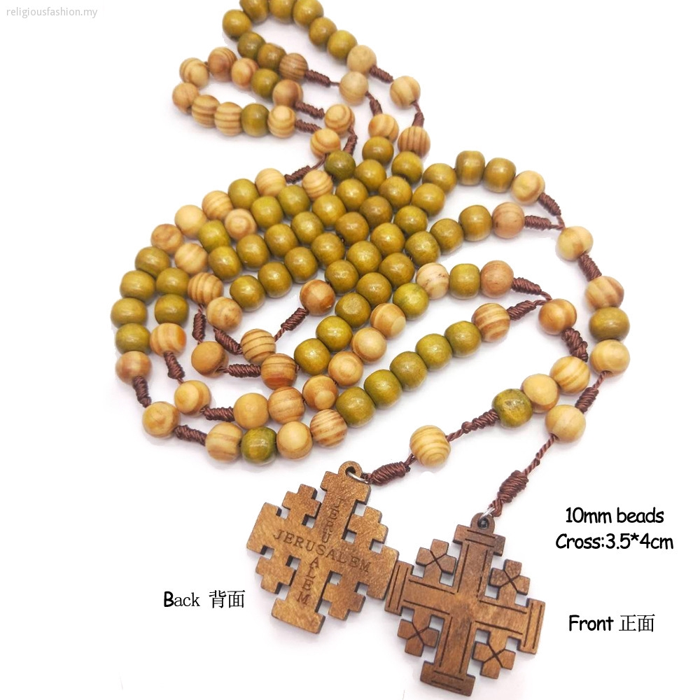 Wooden Beads Preparation Jerusalem Jerusalem Religious Catholic Ornaments Cross Jesus Rosary Necklace