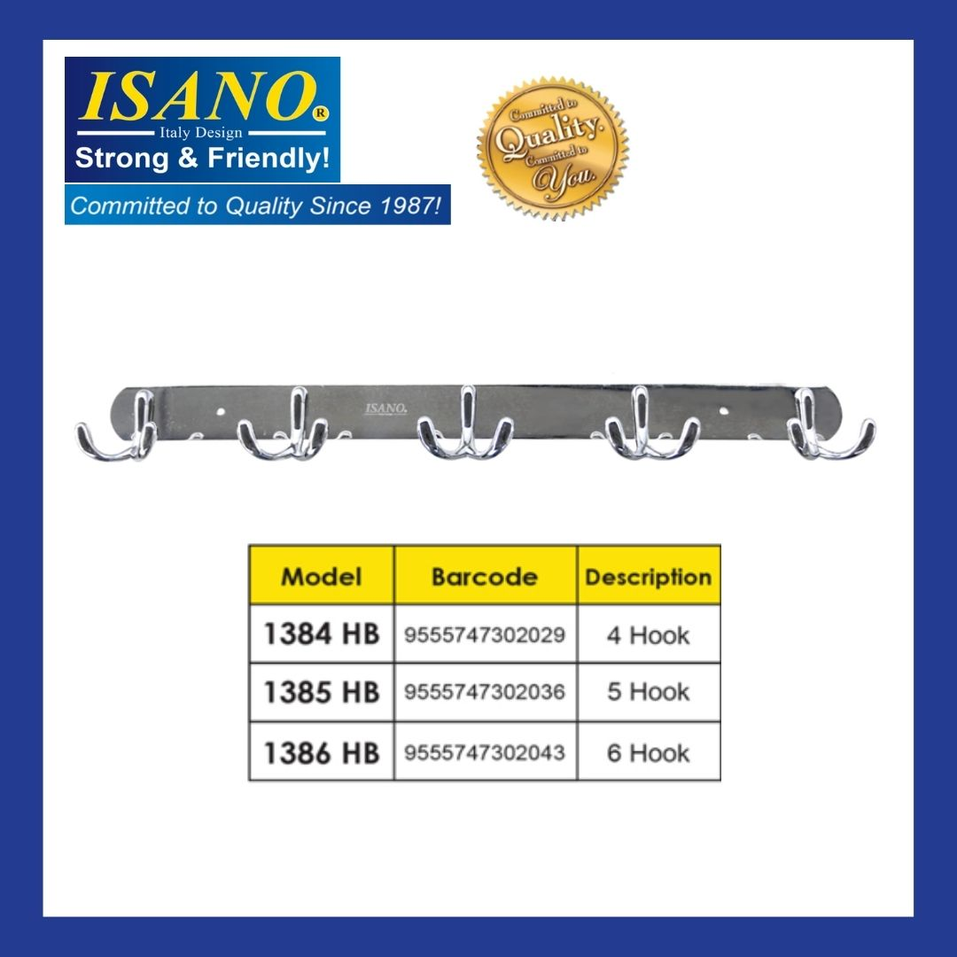 ISANO Stainless Steel Twin Hook Bar 1384HB/ 1385HB/ 1386HB