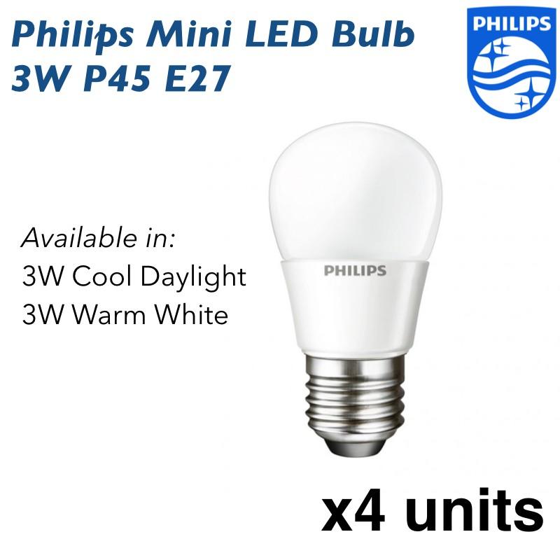 Philips LED Mini Bulb 3W P45 E27 - 4 units (Cool Daylight or Warm White)
