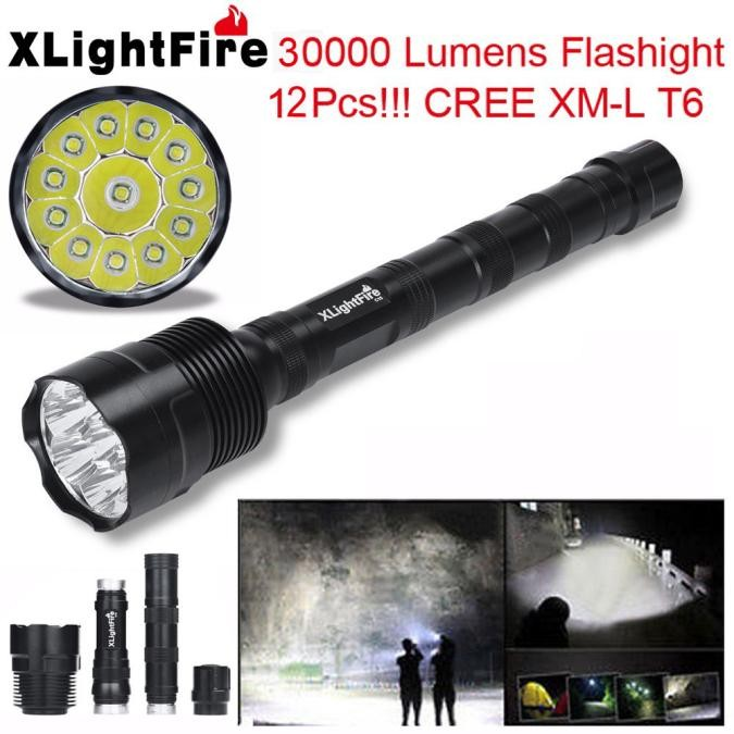 Tactical Zoom 30000Lumens T6 LED Flashlight Lamp Torch+18650+Charger+Case