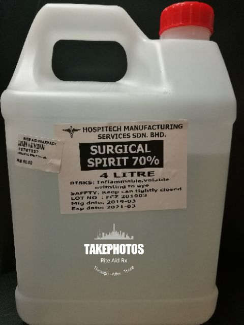Surgical Spirit 70% Isopropyl Rubbing Alcohol Disinfectant Medical Grade  (4L)