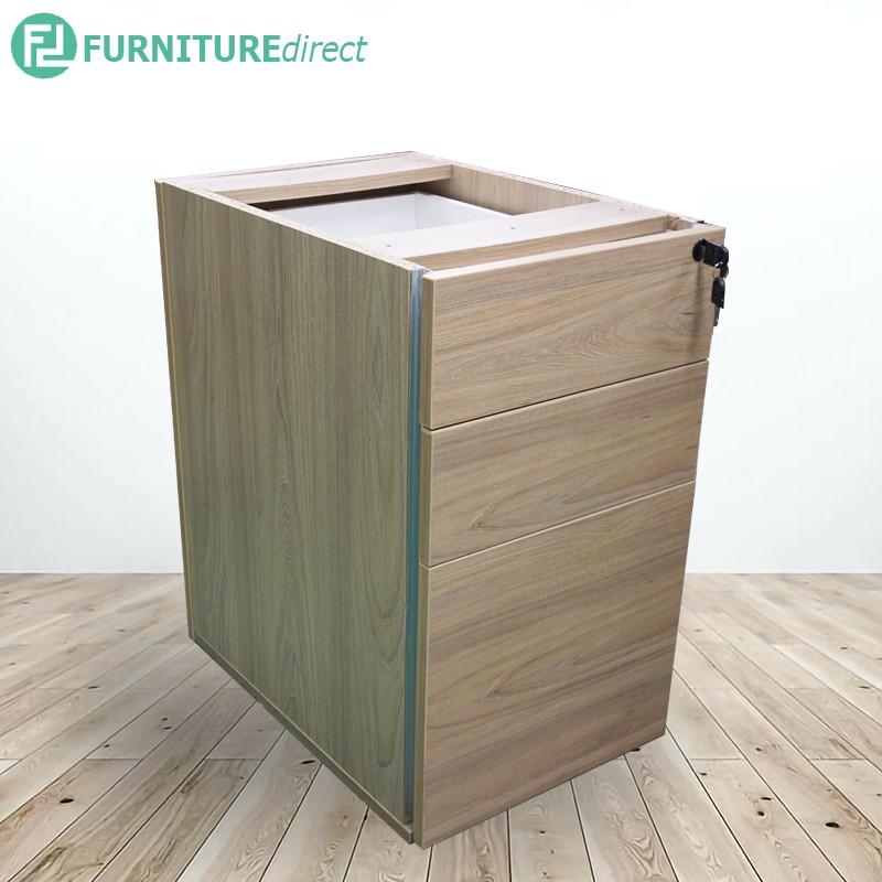Full melamine 3 drawers pedestal with key lock