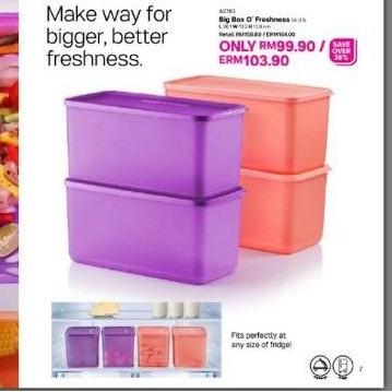 Tupperware (4pcs ) Big Box O` Freshness 3.1L Fresh & N Cool Set