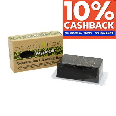 Rawdiance Natural Glycerin Korea Charcoal Gold Flakes 24K Nano Gold Bar Soap With Organic Argan Oil 80g