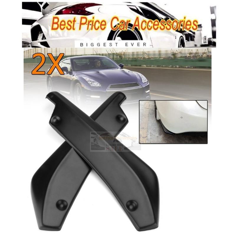 1 PAIR Black Universal Car Rear Bumper Lip Diffuser Spats Splash
