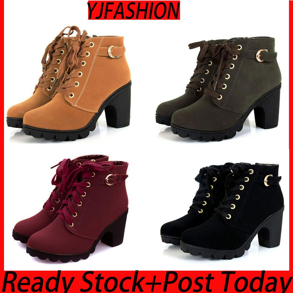 41women Shoes Top Boots High Heel Lace Size35 Up Ankle Suede PkXZiu