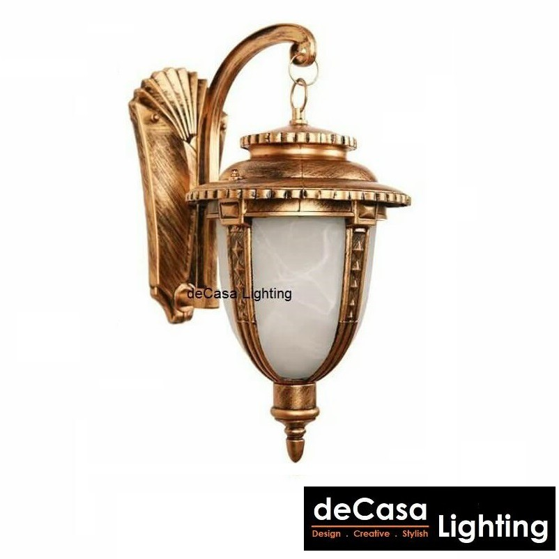 L Size Marble Glass Outdoor Wall Lamp Best Seller Outdoor Wall Light Lampu Hiasan Dinding (W5031-AB-L)