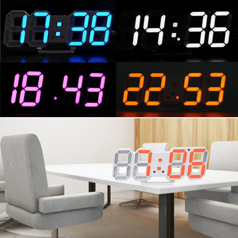 Digital 3D LED Wall Clock Alarm Clock