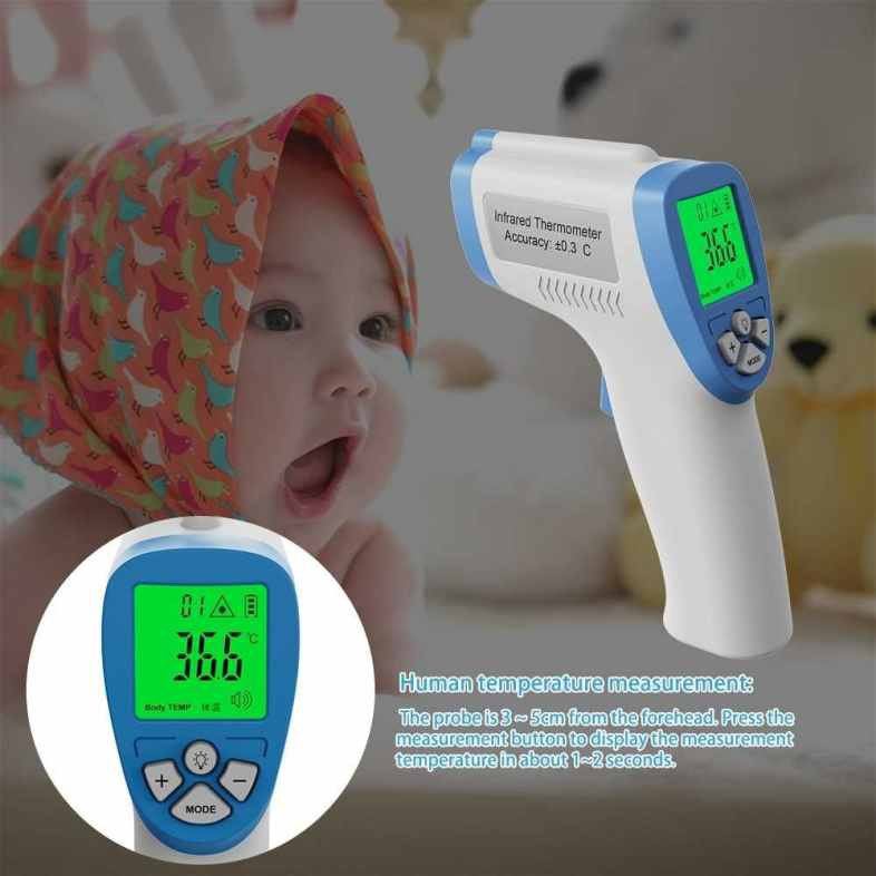 Non-contact Handheld IR Infrared Thermometer Forehead Temperature Measurement High Accuracy Fast Measure LCD Display Su