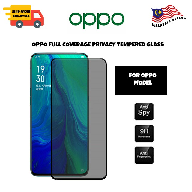 OPPO f9/f11/f11 pro/a1k/a3s/a5s/a9 2020/a5 2020/reno/reno 10xzoom Full Coverage Privacy Tempered Glass