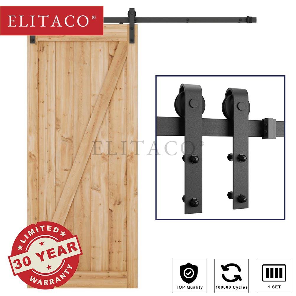 【ELITACO®】2M 2 4M Urban x Vintage S Sliding Wood Barn Door small Roller  Rail Kit