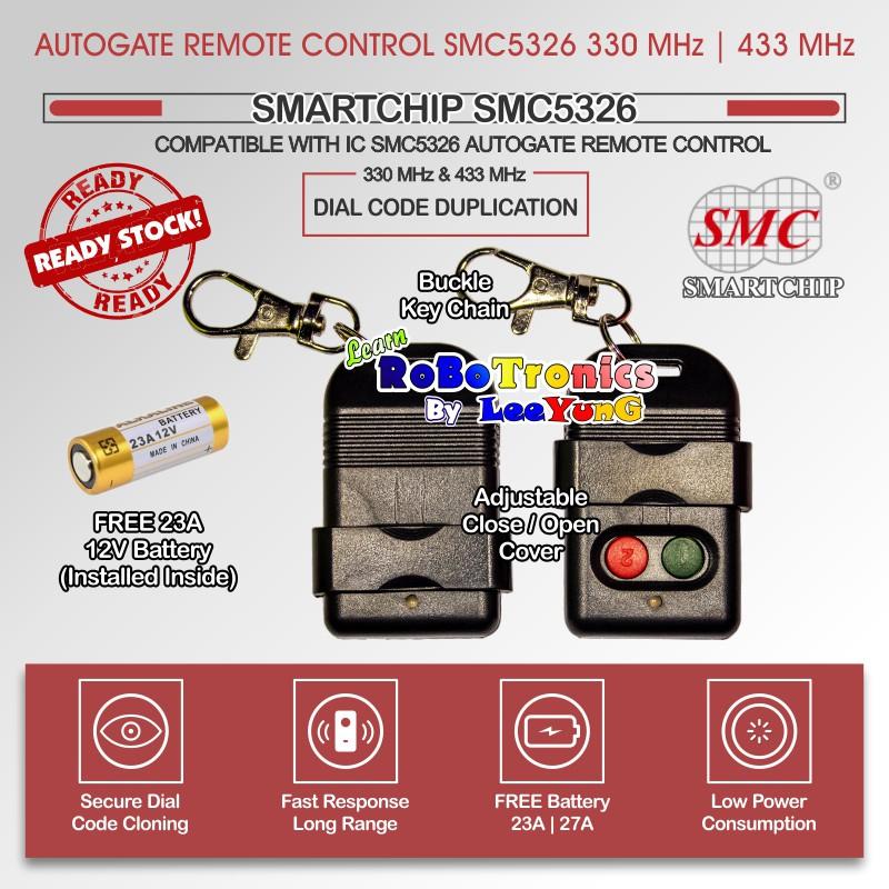 Autogate Door Remote Control SMC5326 330MHz 433MHz Auto Gate Free Battery  A23 A27
