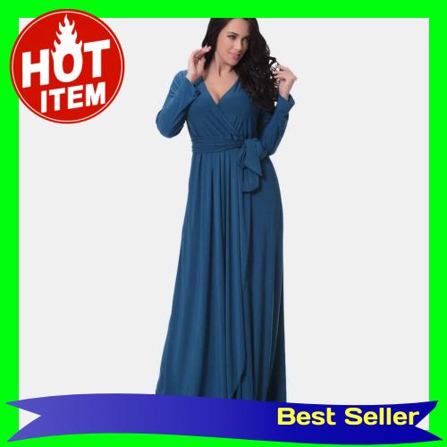 Sexy Women Dress Solid Deep V Drape Asymmetric Ruching High Waist Long Gown Maxi Evening Party One-Piece Blue (Blxxl)