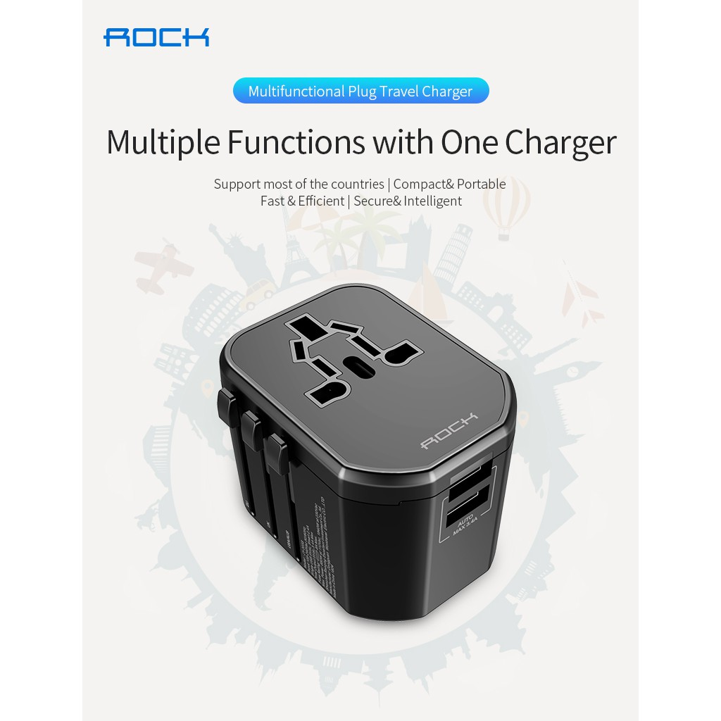 ROCK T20 Multifunctional Plug Travel Charger