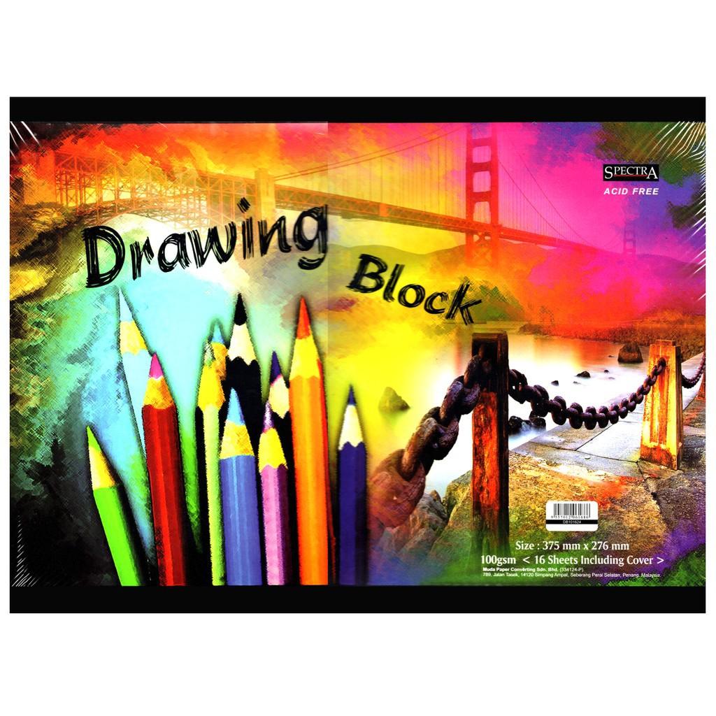 """Student B4 Drawing Block / Buku Kertas Lukisan 15"""" X 11"""" 100gsm (16 sheets) Drawing Paper Drawing Book"""