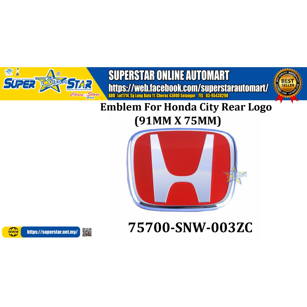 Honda Logo Emblem 75700-SNW-003ZC (91mm x 75mm)