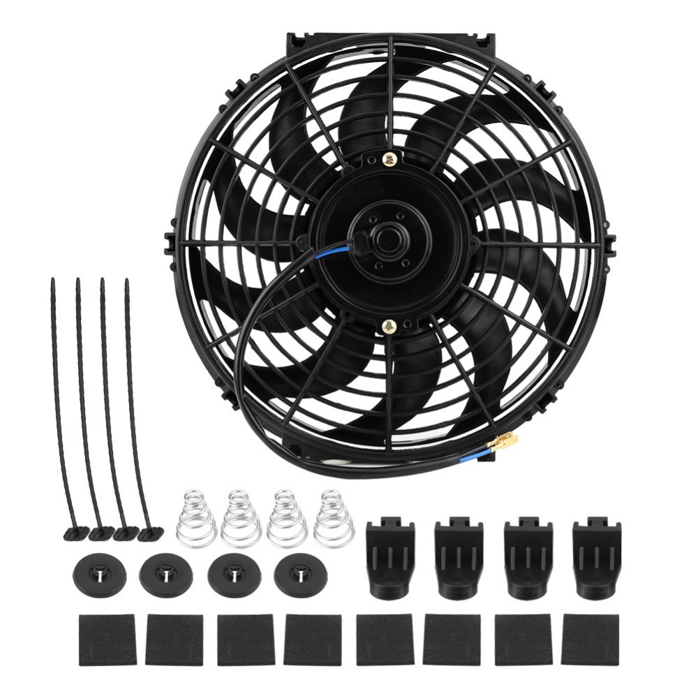 12V 80W 2100RPM Straight Black Blade Electric Oil Cooling Radiator Fan Mounting Kit Universal 7 inch