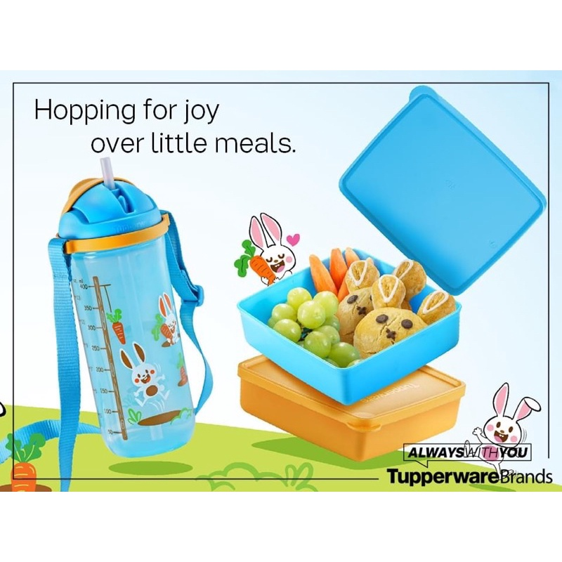 [READY STOCK] Tupperware Happy Bunny Lunch Set for Kid