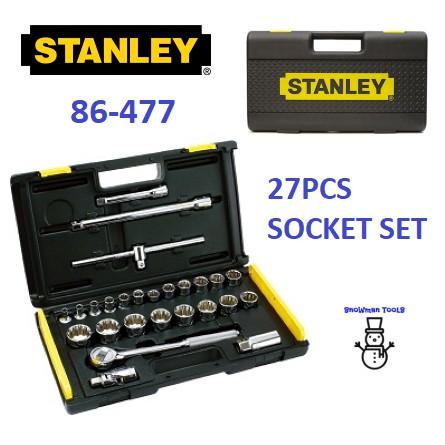 "STANLEY 27PCS 86-477 1/2"" DRIVE SOCKET RACHET DRIVER SET DRIVERS METRIC SOCKETS SET NUT OPENER CAR HAND TOOL TOOLS SET"