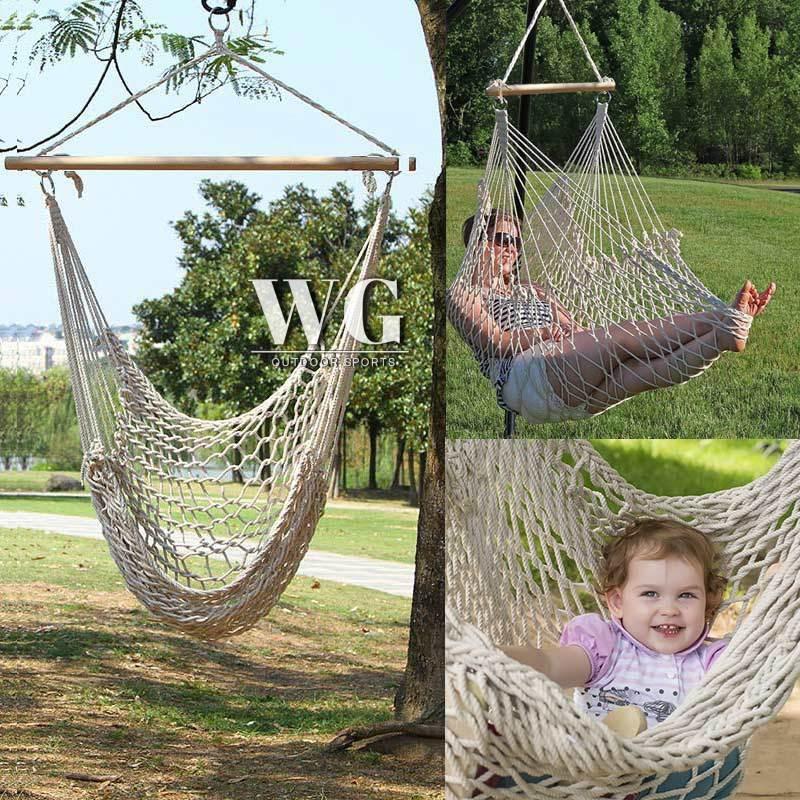 Wg Outdoor Indoor Hammock Chair Hanging Swing Cotton Rope Net