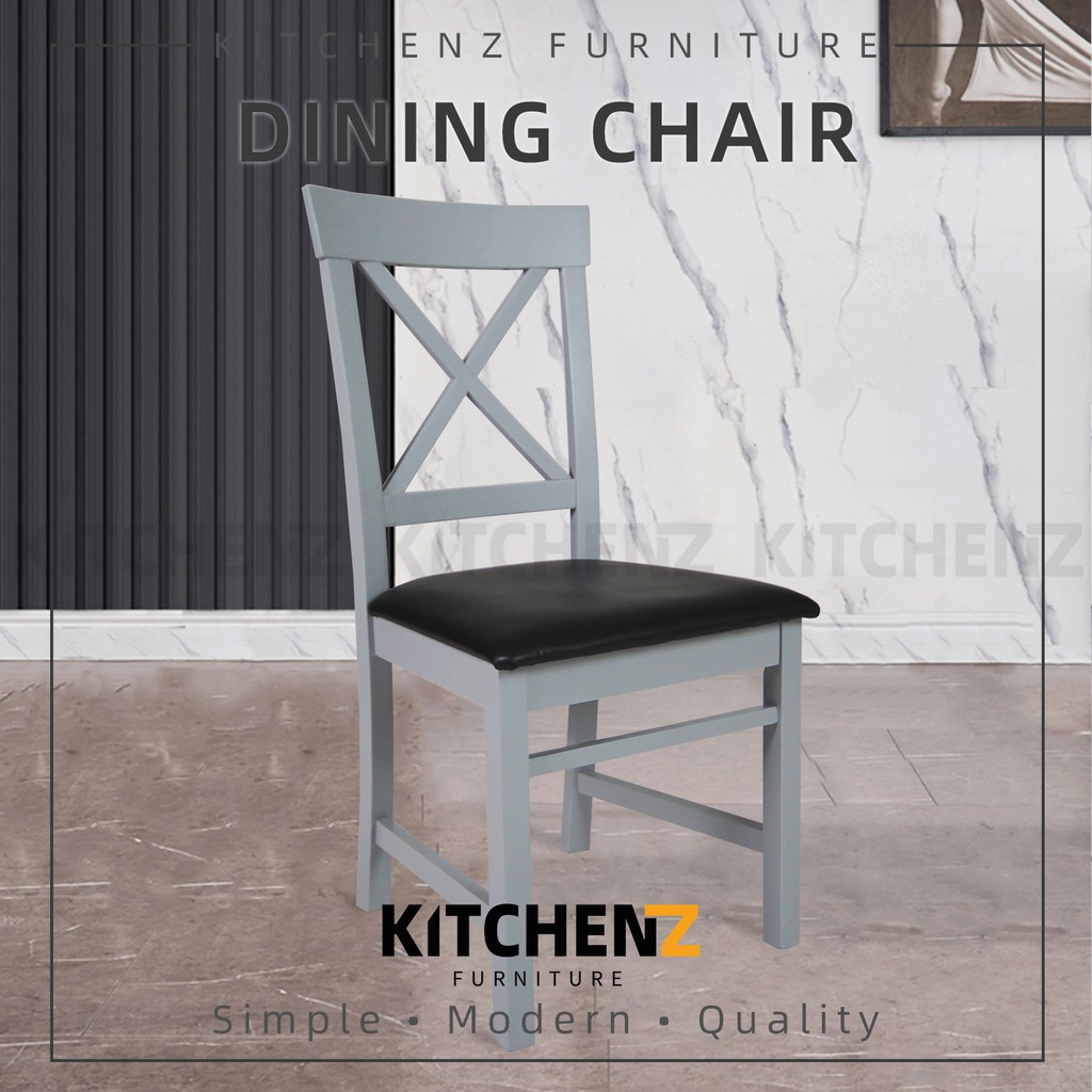 KitchenZ (2pcs) Rossance Dining Chair Modern Style / Leather Seat & Solid Wood Leg / Kerusi Makan - HMZ-FN-DC-Rossance-GY