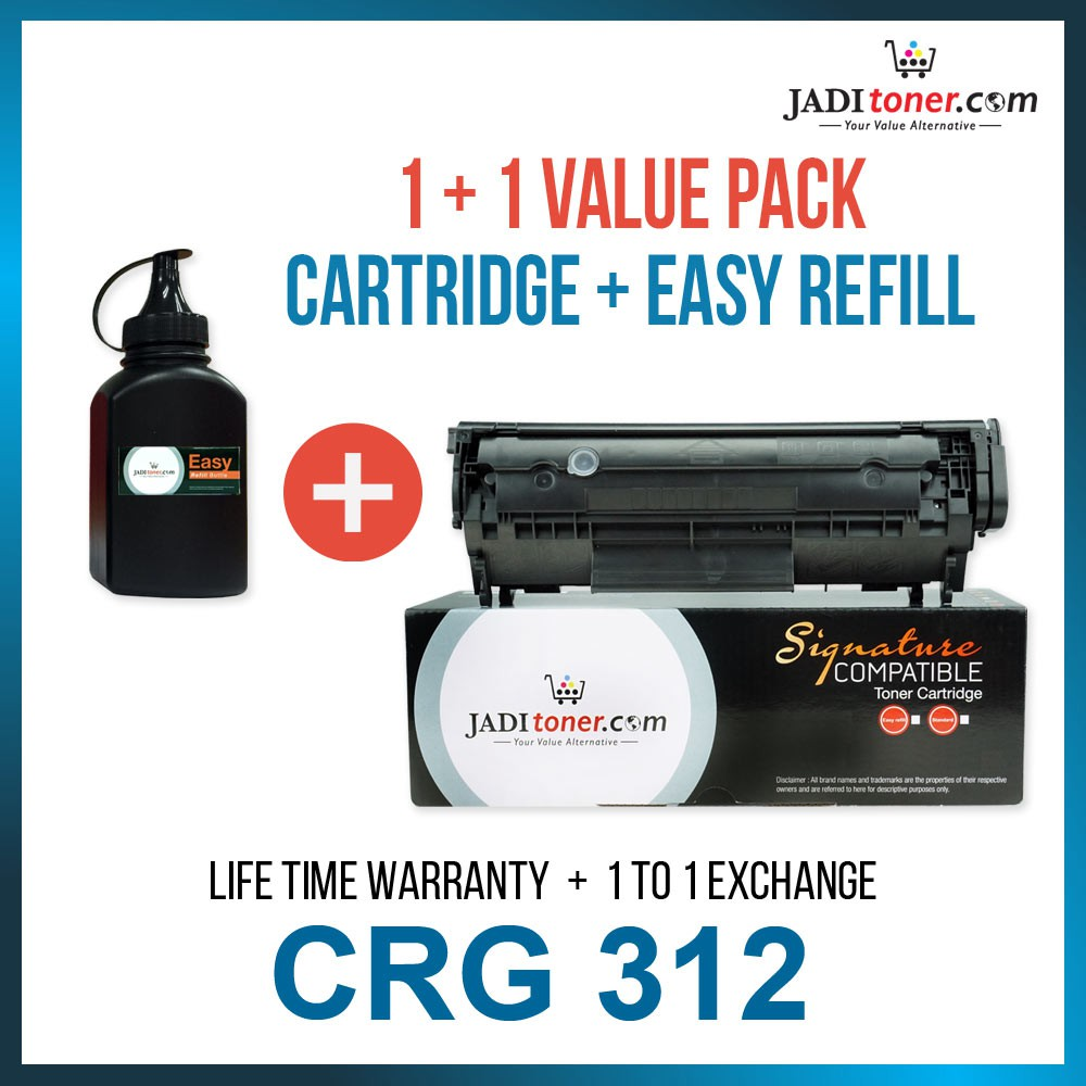 [1+1 Value Pack] Compatible CRG 312 Cartridge 312 with 1 Refill Toner