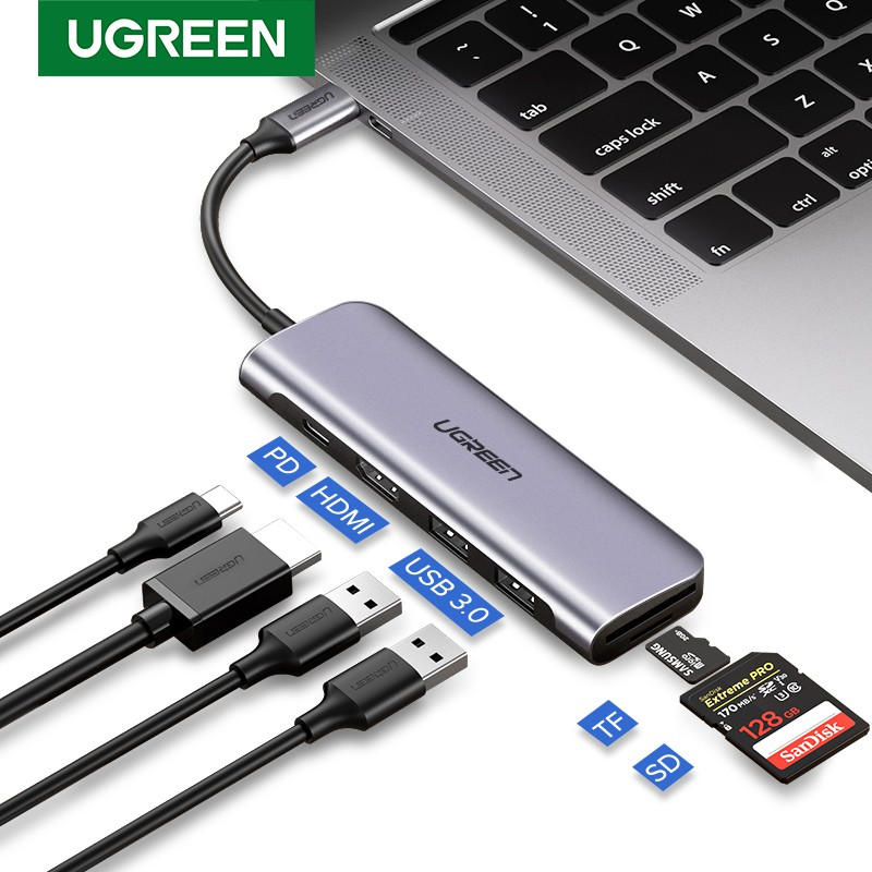 6 in 1 3 USB Port Type C Hub To HDMI 4K Adapter Dock Dongle TF SD Card Reader